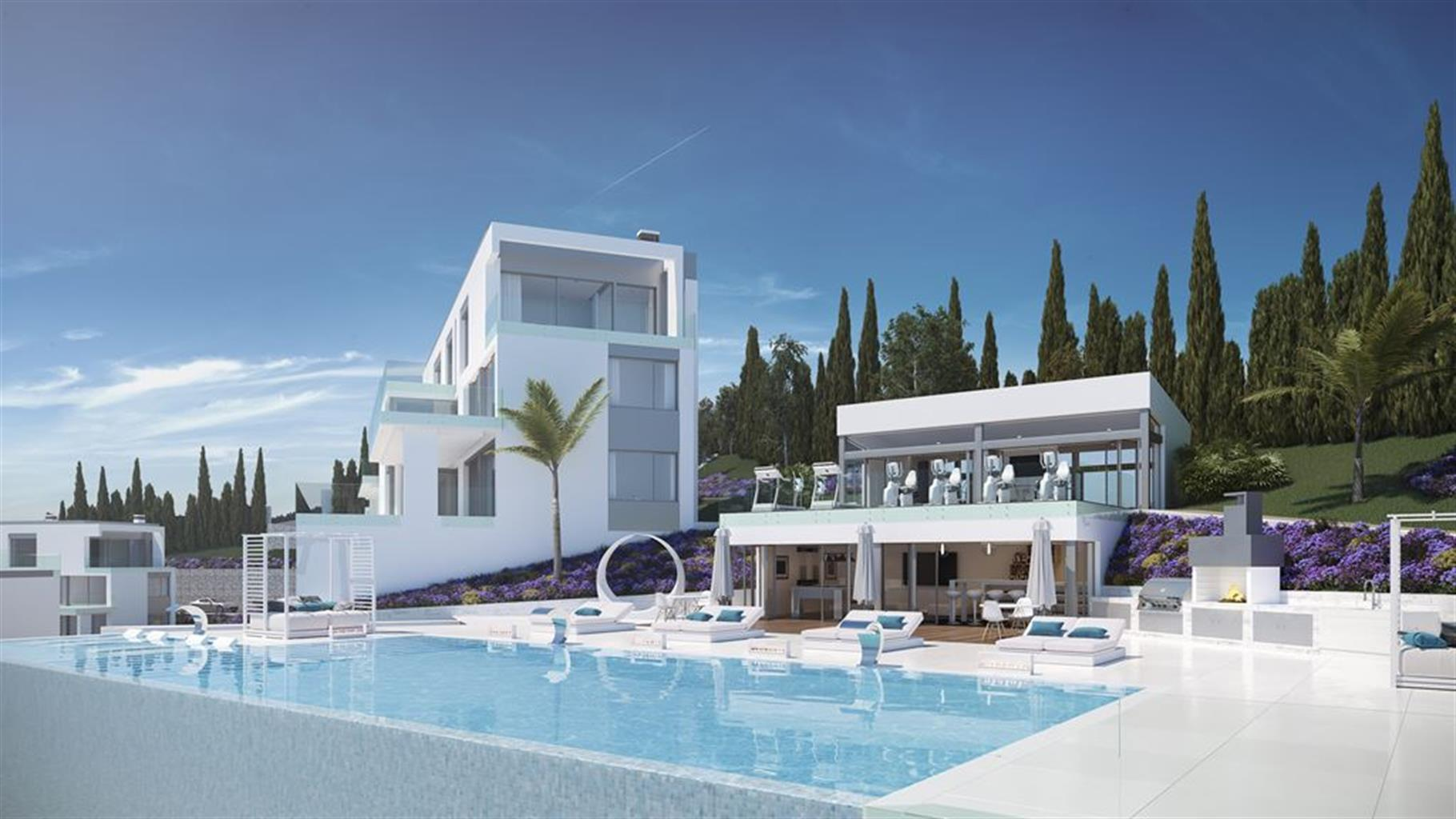 Aanbod van 30 appartementen van verschillende types, in het hart van een golfbaan, zwembad, sociale club, wellnesscentrum, sporthal, speeltuin en tropische tuinen