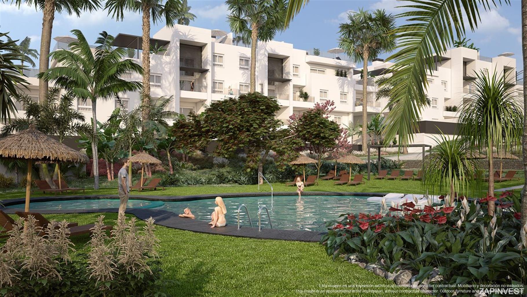 3 slaapkamer penthouse met solarium, gemeenschappelijk zwembad, spa en fitnessruimte.