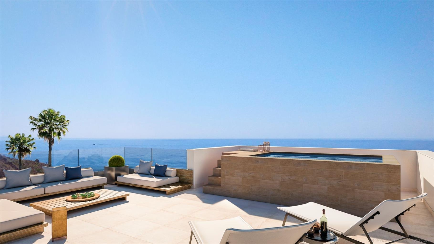Nieuwe promotie op 500 meter van het strand en de winkels, van twee tot vier slaapkamers, lichte woonkamer, volledig uitgeruste keuken en groot terras met uitzicht op zee!