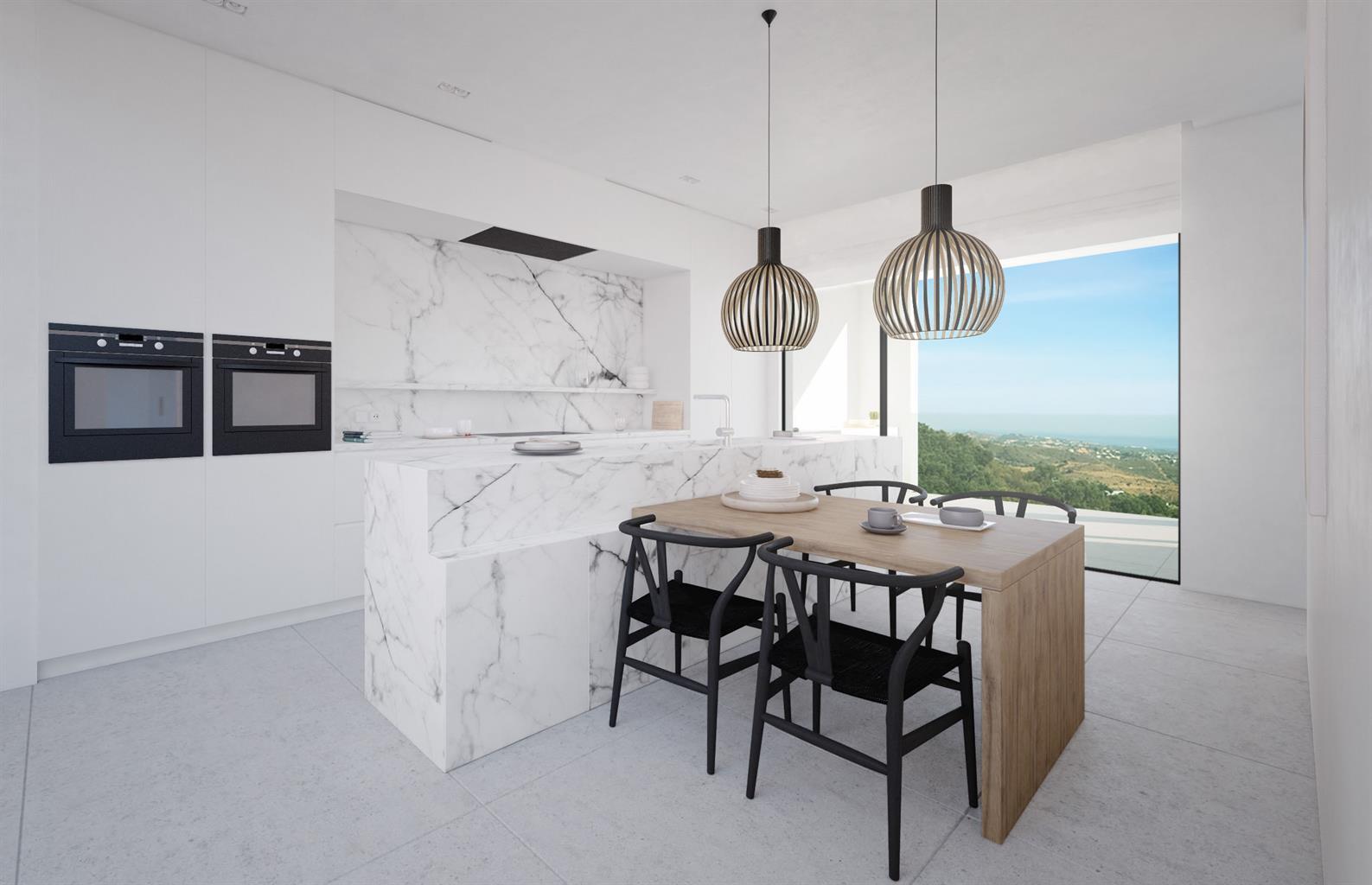 Hedendaags design villa op 2 niveaus gelegen in de natuurlijke omgeving van Altos de los Monteros, Marbella. Een bevoorrecht uitzichtpunt met een adembenemend panoramisch uitzicht over de kustlijn en de Middellandse Zee, Gibraltar en Noord-Afrika!